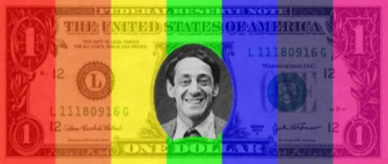 Headshot of Harvey Milk on a rainbow dollar bill