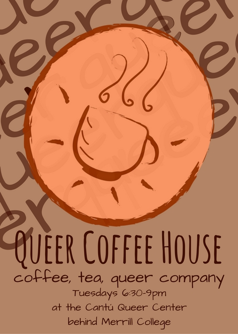 flyer for queer coffee house